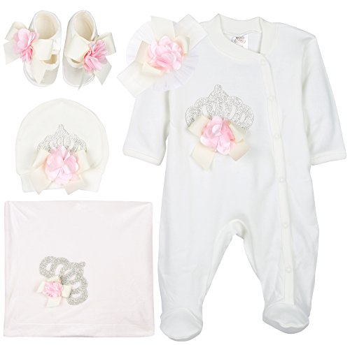 [Eda Baby Girl Jeweled Crown Layette 5 Piece Gift Set 0-3 Months Pink] (Baby Designer Clothes)