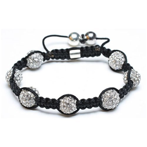 Bling Jewelry Silver Swarovksi Crystal Bead Unisex Shamballa Bracelet 10mm