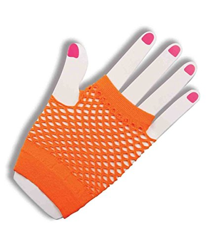 Orange Fishnet Fingerless Wrist Gloves
