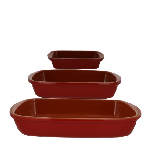 Coli Bakeware CL-REC-SET3-RD Italian Ceramic 3-Piece Rectangular Baker Set, Red