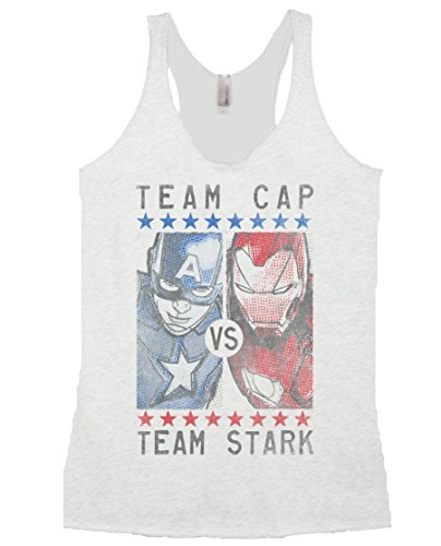 Marvel Civil War Team Cap vs Team Stark Junior's Heather White Tank Top S (Marvel Womens Clothes compare prices)