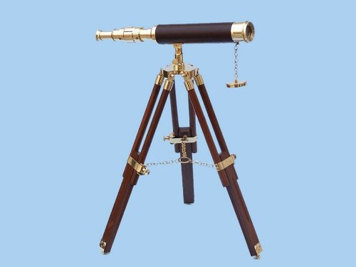 "Floor Standing Brass/Leather Harbor Master Telescope 30"" - Leather - Harbormaster"