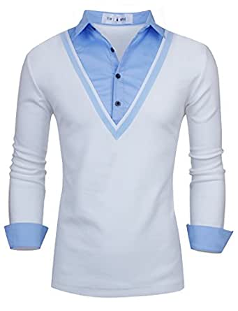 Tom's Ware V-cou a manches longues Polo a col contraste-Hommes TWNR006C-WHITE-XXL