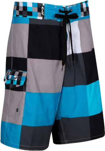 EXSquareBoard2384 Mens Multi Colour Checker Print Skate Surf Board Short / Swim Trunks - Aqua Blue / X-Large