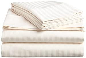 ITALIAN 3PC TWIN Sheet Set, STRIPED IVORY
