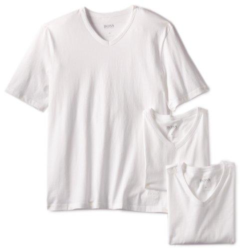 BOSS HUGO BOSS Men s 3-Pack Cotton V-Neck T-Shirt, White, Medium