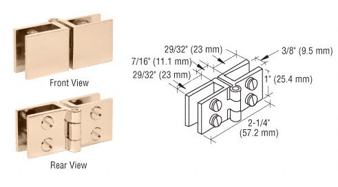 Crl Brass Finish Wide Face Glass-To-Glass In-Swing Set Screw Hinge - Package front-531172