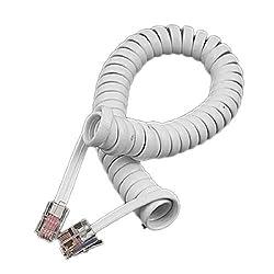 2pcs White RJ11 Telephone Phone Modem Extension Coil Cable