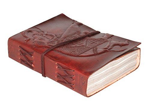 "Creoly A6 Handcrafted 'Indian Elephant' Embossed Leather Journal w/ Wrap Tie Closure (4"" x 5"")"