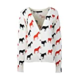 Womens Spring Autumn Printing Cotton Cardigan Swearter One Size