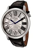 ROTARY Watches:Men's Swiss Made Automatic Silver Guilloche Dial Black Leather