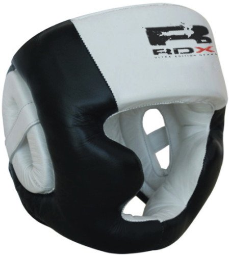 RDX Pro Cow Hide Leather Boxing Head Guard halmet,Gloves MMA, Large