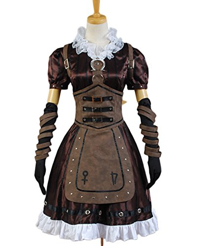 Alice Madness Returns Cosplay Costume Steamdress Maid Dress+Necklace Apron Suit