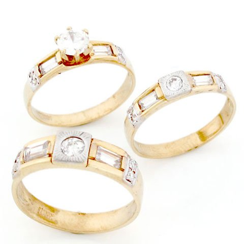9ct Gold His & Hers Trio 3 Piece CZ Wedding Ring Sets