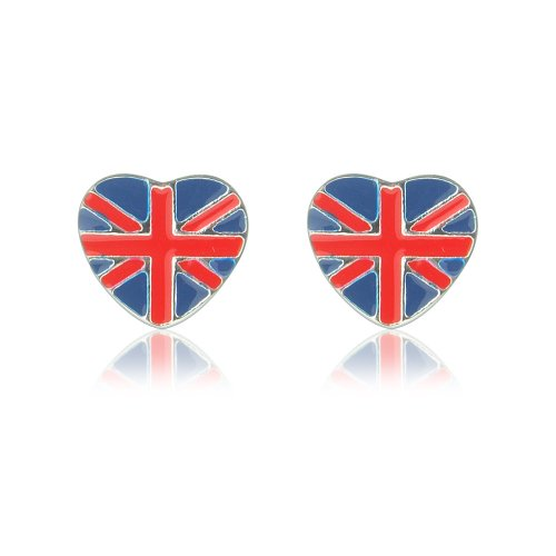 Cute union jack heart stud earrings for women and children pierced ears includes beautiful gift bag