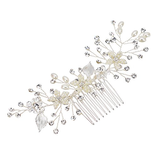 Remedios Vintage Flower and Leaf Inspiration Hair Comb Wedding Bridal Hair Accessory, Silver