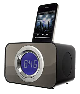 KitSound Clock Radio Dock for 30-Pin Connector iPod and iPhone 4S/4/3GS/3G, iPod Nano 5th Generation and iPod Touch 4th Generation - Bad Boy Black