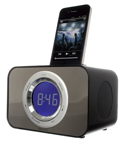 KitSound Clock Radio Dock for iPhone 3G, 3GS, 4, 4S, iPod Nano 5th Generation and iPod Touch 4th Generation - Bad Boy Black