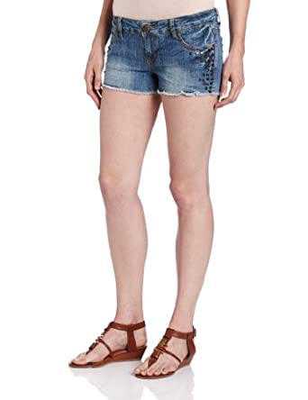 Hot Kiss Juniors Denim Short with Rhinestuds, Medium Wash, 0
