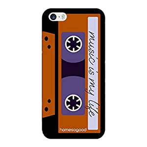 HomeSoGood Life Is Like Music Cassette Brown 3D Mobile Case For iPhone 5 / 5S (Back Cover)
