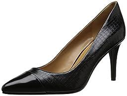 Nine West Women\'s Pano Croco Dress Pump, Black/Black, 10.5 M US
