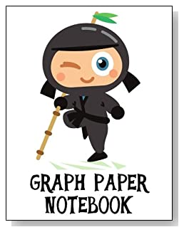 Graph Paper Notebook For Boys - Cute little gray ninja makes a fun cover for this graph paper notebook for younger boys.