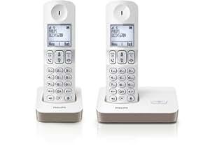 Philips D4002WC/FR Téléphone fixe sans fil Duo 2 combinés avec mode silence Blanc/Taupe