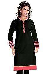 Isha Enterprise Women's Black Colour Semi Stitched Straight Kurti