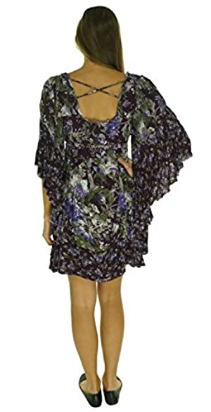 Free People Heart of Gold Flutter Print Dress Eggplant Combo Small