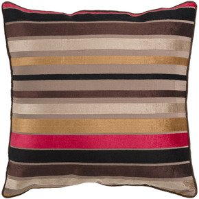 Surya Inc Luxury Pillow in Driftwood Brown and Venetian Red with Down Fill 22 x 22