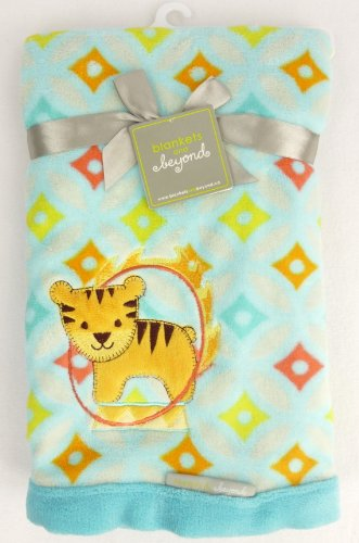 Blankets and Beyond - Blue Blanket with Yellow Circus Tiger - 1