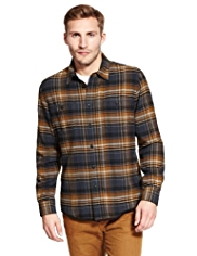 North Coast Pure Cotton Waffle Checked Lined Shirt