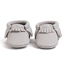 Freshly Picked Soft Sole Leather Baby Moccasins - Petite Cashmere - Size 0