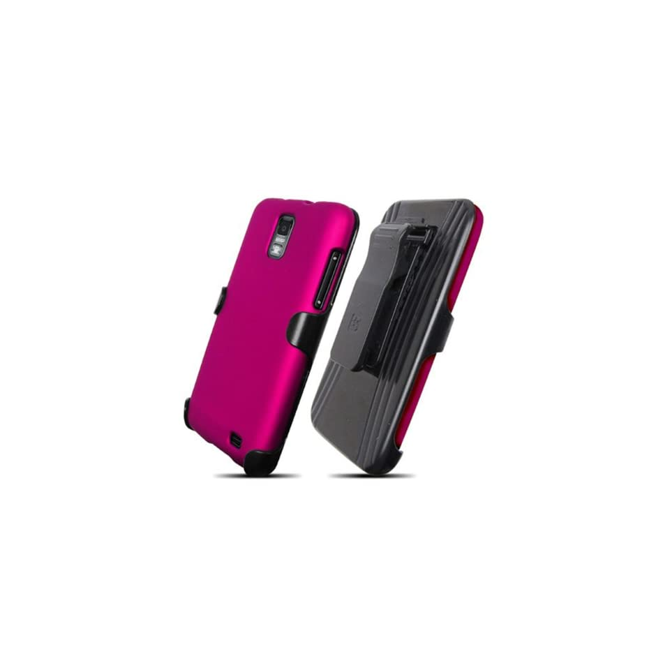 Samsung i727 SkyRocket Rose Pink Cover Case + KickStand Belt Clip Holster + Naked Shield Screen Protector Cell Phones & Accessories