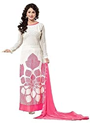 Samay Creation White Georgette Embroidered Semi-stitched Anarkali Dress Material