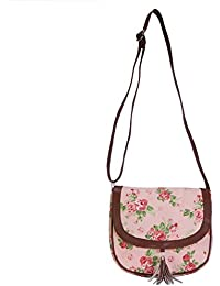 Ayeshu Pink Canvas Rose Printed Sling Bag