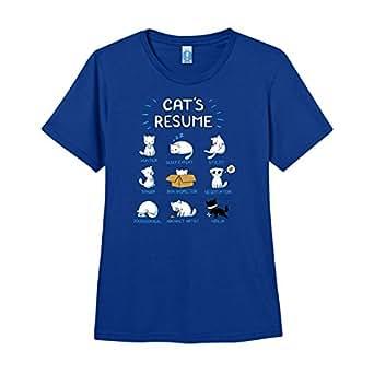 com: Shirt.Woot - Women's Cat's Resume T-Shirt - Royal Blue: Clothing