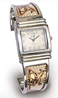 Armbanduhr Damen Uhr im Western Style Edelstahl mit Kupferstich Pferde Motiv