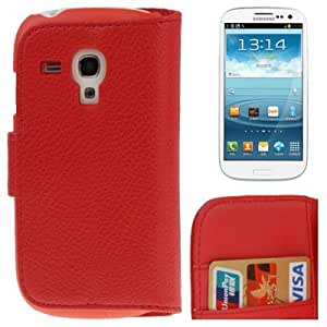 Crazy4Gadget Litchi Texture Leather Case Cover with Credit Card Slots & Holder for Samsung Galaxy SIII mini / i8190 (Red)