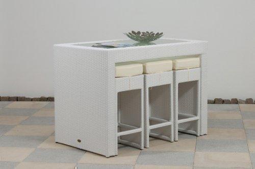 essella Polyrattan Bar-Set Barcelona in Weiß mit extra starkem 1,4mm Geflecht