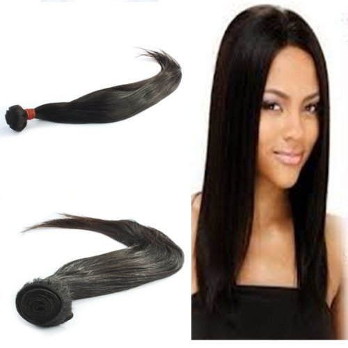"Yesurprise Top Quality 26"" Straight 100% Virgin Remy Human Hair Weave Weft Natural Black 100G"