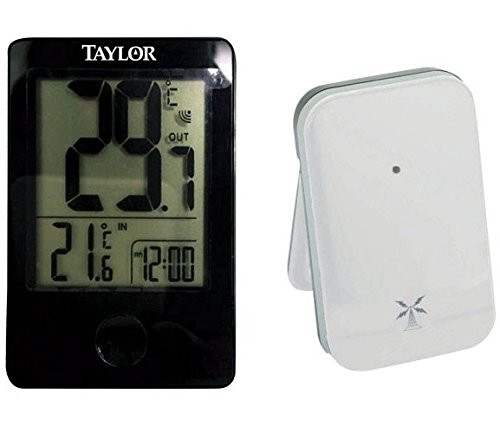 Taylor 1730 Wireless Digital Indoor/Outdoor Thermometer, Black