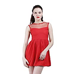 Altamoss Netted Red Women's Dress (Size-XXL)