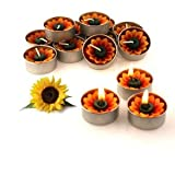 Cleopatra Spa - Craft Sun Flower Tealight Candles Garden Decor - (Pack of 10 Mini Aroma Tea Light)