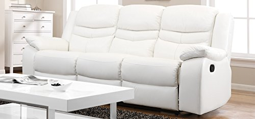 Cheap Price Contour Blossom White Reclining 3 Seater Leather ...