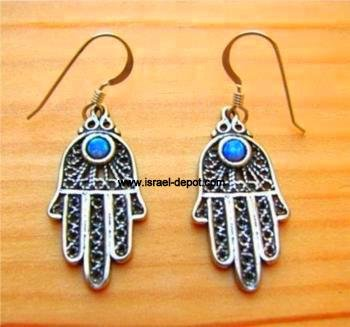 Sterling Silver Earrings Vintage Hamsa Hand Protection Opal Gems