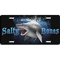 New Salty Bones Scuba Diving License Plate - Megalodon Great White Shark