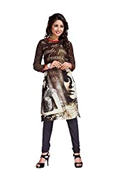 The Ethnic Chic Women's Brown Color Georgette Kurti.