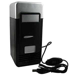 Mini USB-Powered Fridge Cooler for Beverage Drink Cans in Cubicle and Home office (Black)