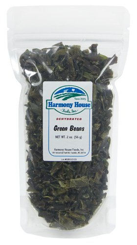 Harmony House Foods Dried Green Beans, Cut (1.75 Oz, Zip Pouch) For Cooking, Camping, Emergency Supply, And More